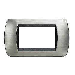 placca per interruttore : bticino 3 cmoduli acciaio spazzolato con cornice interna antracite