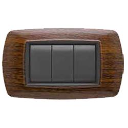 placca per interruttori : life 3 posti legno scuro