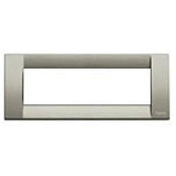 placchetta a muro per interruttore : vimar a 6 posti in titanio metallizzato