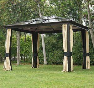 YUEBO Gazebo Impermeabile 3x3m Gazebo Pieghevole Protezione Solare pareti e zavorre per Gazebo Resistenza al Vento Tenda Giardino con Borsa per Il Trasporto